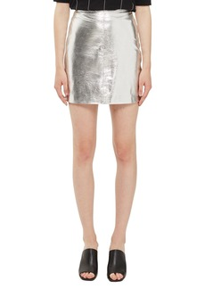 Topshop Boutique Metallic Leather Miniskirt
