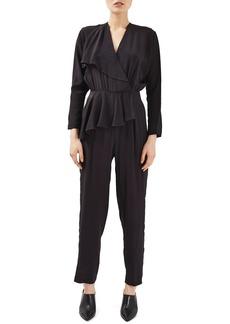 Topshop Boutique Peplum Silk Jumpsuit