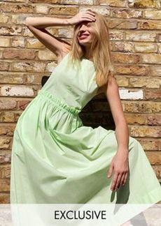 Topshop Boutique sleeveless poplin maxi dress in apple