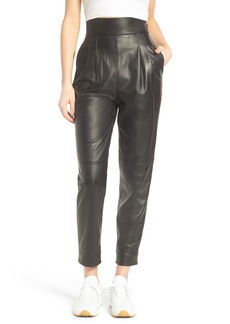 Topshop Boutique Straight Leg Leather Trousers