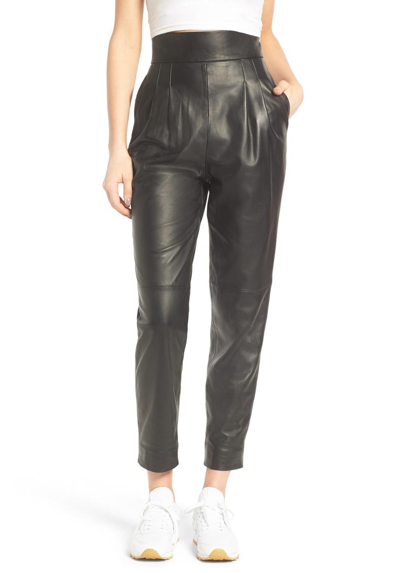 f52a7d9b61df Topshop Topshop Boutique Straight Leg Leather Trousers