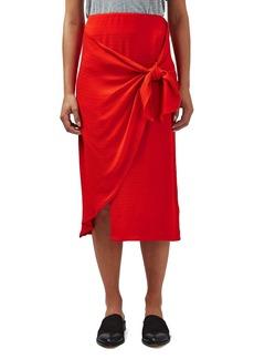 Topshop Boutique Tie Front Midi Skirt