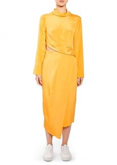 Topshop Boutique Twist Cutout Silk Dress