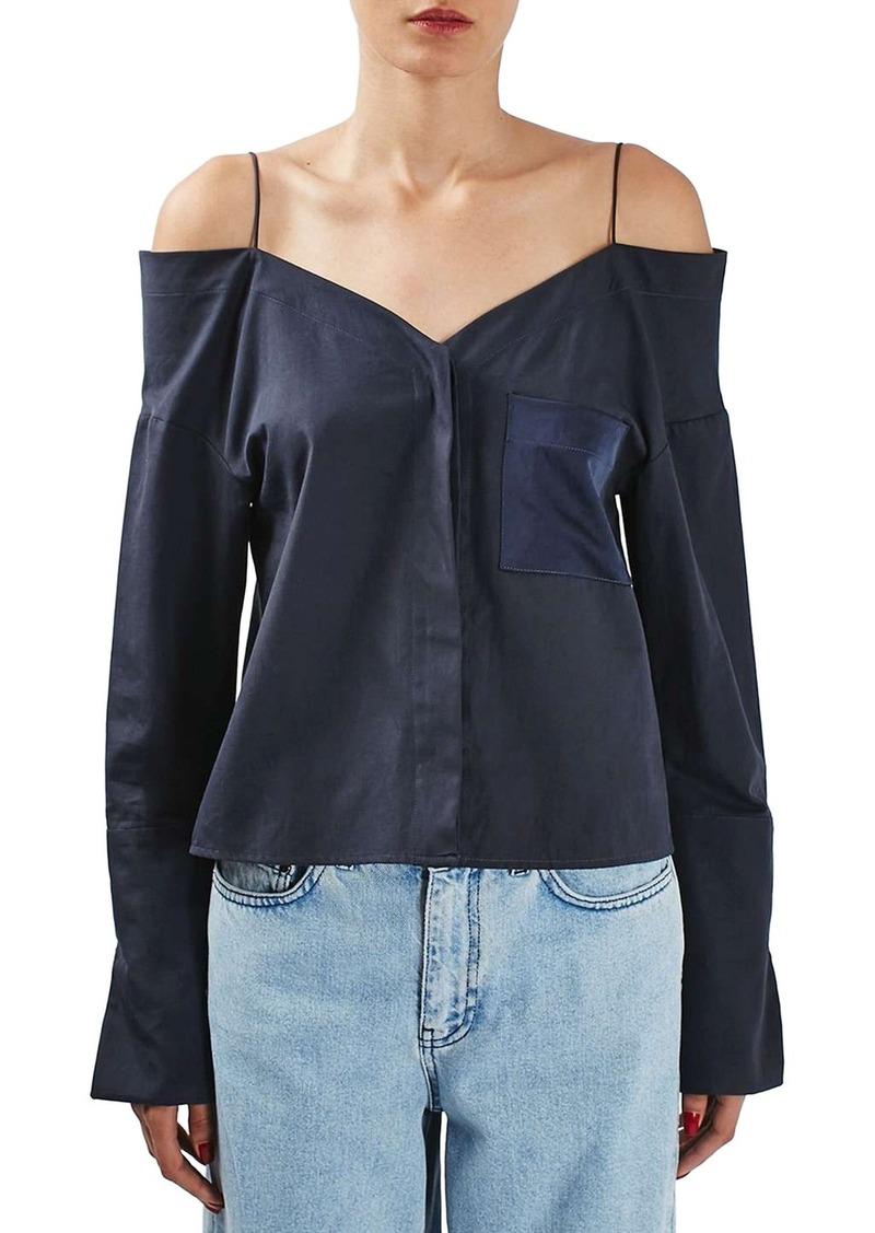 Topshop Boutique Two-Tone Off the Shoulder Shirt