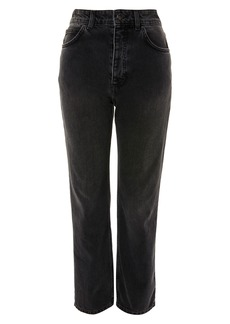 Topshop Boutique Washed Black Moto Straight Leg Jeans