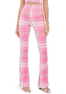 Topshop Bright Check High Waist Flare Leg Trousers