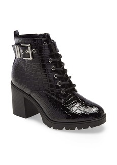 Topshop Broadway Croc Embossed Lace-Up Boot (Women)
