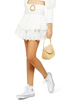 Topshop Broderie Anglaise Tiered Miniskirt