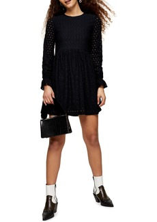 Topshop Broderie Long Sleeve Minidress