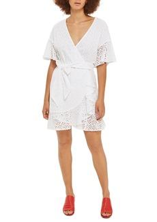 Topshop Broderie Ruffle Wrap Dress