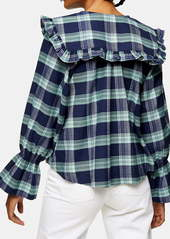 Topshop Brushed Check Collar Blouse