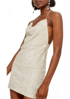 Topshop Brushed Sequin Cowl Neck Dress