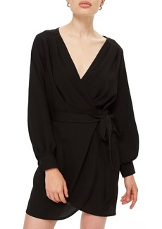 Topshop Bubble Satin Wrap Dress