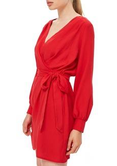 Topshop Bubble Satin Wrap Dress