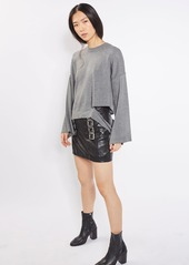 Topshop Buckle Detail Leather Miniskirt