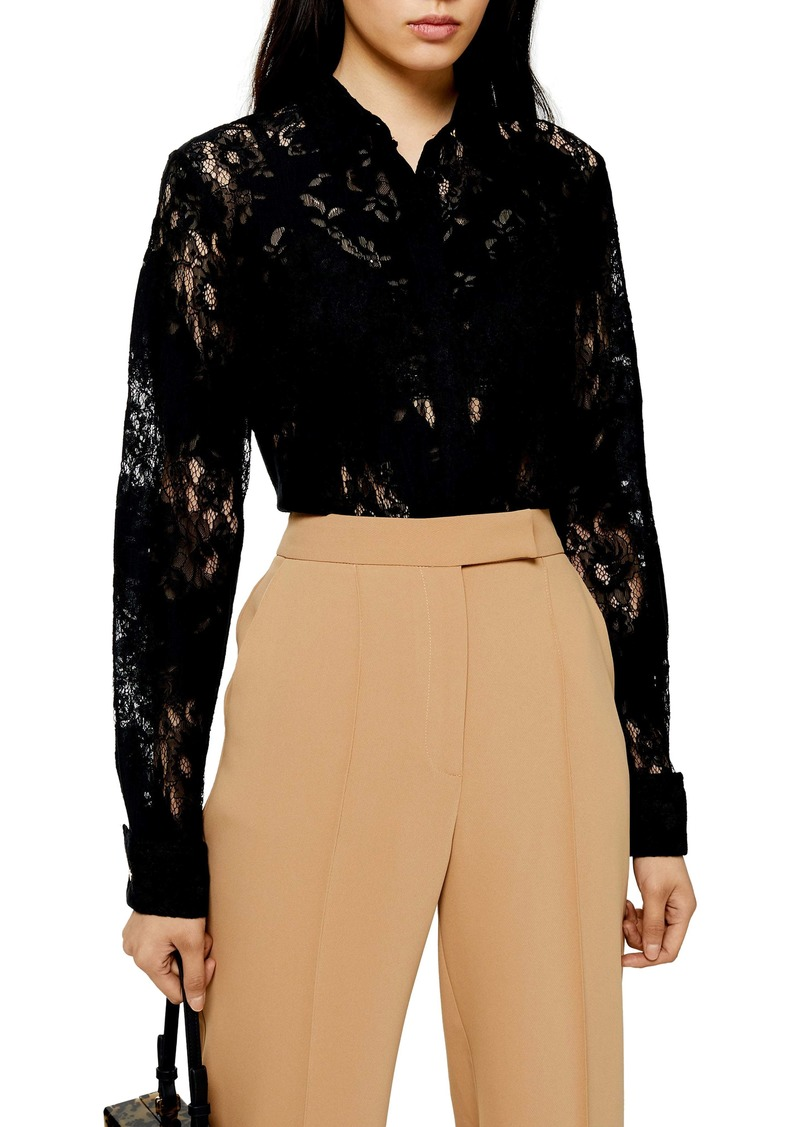 Topshop Burnout Lace Shirt