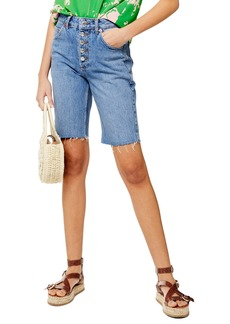 Topshop Button Cycle Denim Shorts