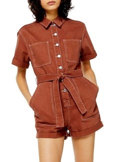 Topshop Button Down Denim Romper