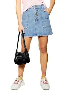 Topshop Button Fly Denim A-Line Miniskirt (Petite)