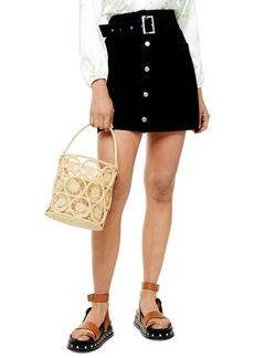 Topshop Button Front Belted Denim Miniskirt