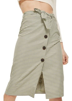 Topshop Button Plaid Skirt