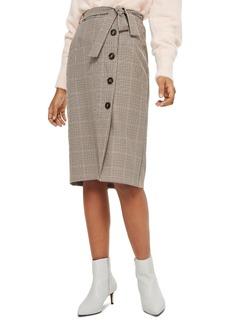 Topshop Button Through Check Pencil Skirt
