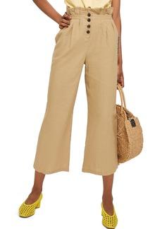 Topshop Button Wide Leg Crop Trousers