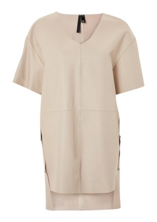 Topshop by Boutique Leather V-Neck Dress
