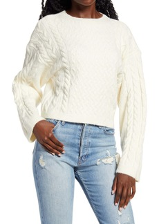 Topshop Cable Stitch Crop Sweater