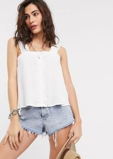 Topshop cami top with button front in ivory
