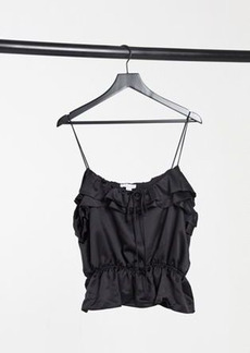 Topshop cami top with ruffle detail in black