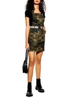 Topshop Camo Denim Buckle Pinafore Dress