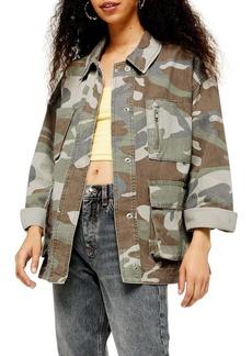 Topshop Camouflage Longline Shirt Jacket (Petite)