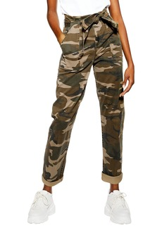 Topshop Camouflage Paperbag Waist Utility Trousers