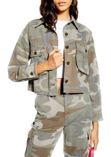 Topshop Camouflage Shirt Jacket
