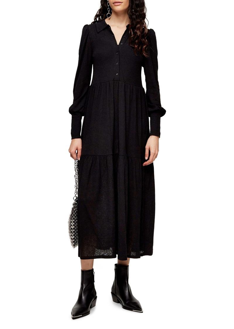 Topshop Cardigan Tiered Midi Dress
