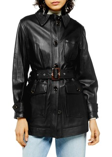 Topshop Casey Belted Leather Jacket