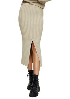 Topshop Center Split Rib Midi Skirt