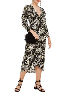 Topshop Chain Jacquard Midi Dress