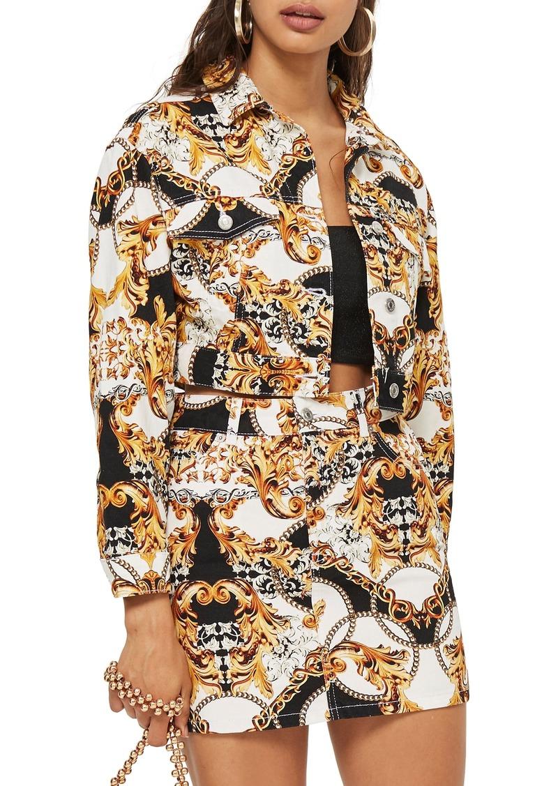 Topshop Chain Print Denim Jacket