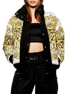 Topshop Chain Print Puffer Jacket