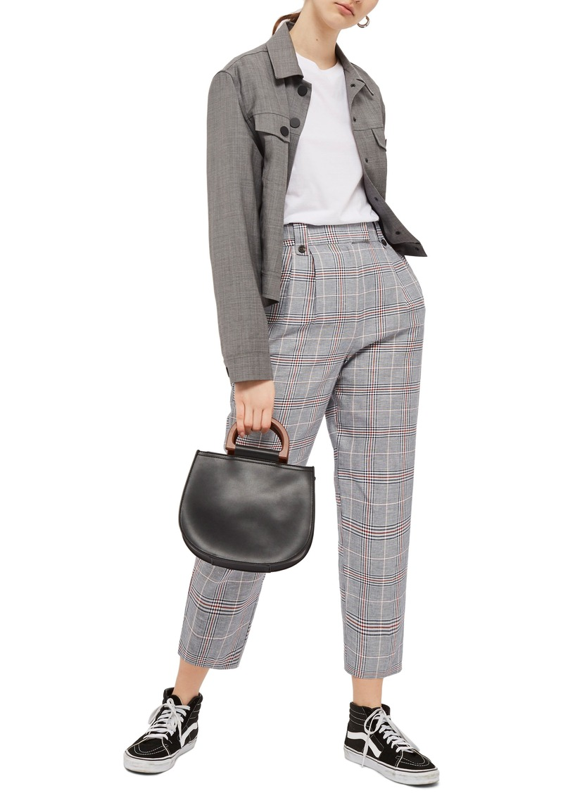 Topshop Cham Linen Checked Trousers