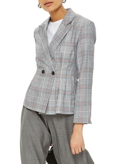 Topshop Cham Linen Checkered Jacket