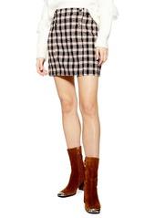 Topshop Check Bouclé Metallic Wrap Skirt