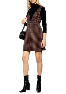 Topshop Check Button Front Pinafore Dress (Regular & Petite)