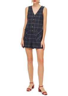 Topshop Check Button Romper