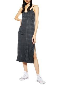 Topshop Check Denim Midi Dress