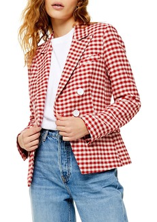 Topshop Check Double Breasted Blazer