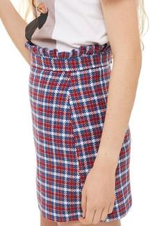 Topshop Check Frill Waist Miniskirt