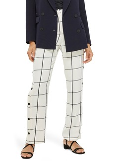 Topshop Check Popper Wide Leg Trousers